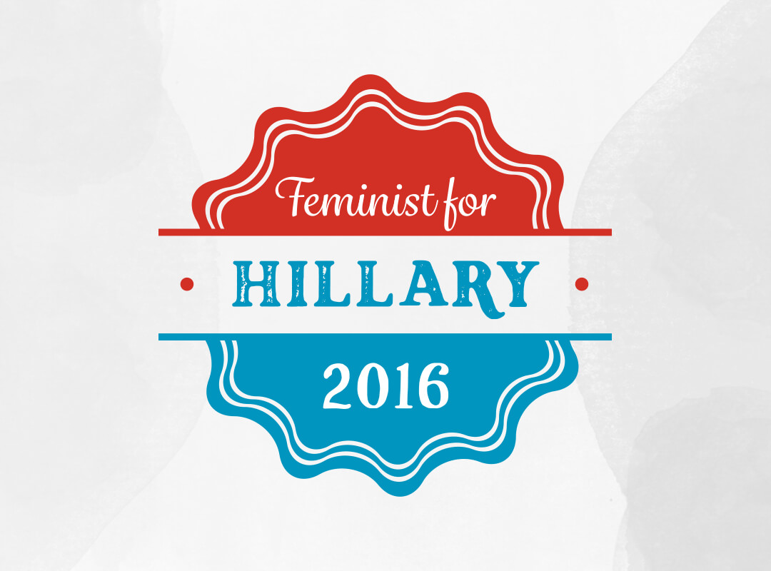 Feminist for Hillary 2016 t-shirts, totebags and stickers