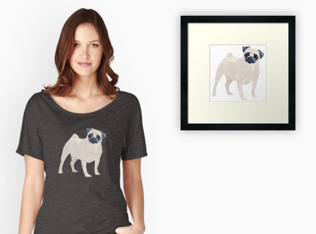 Polygon Pug Print and T-shirt