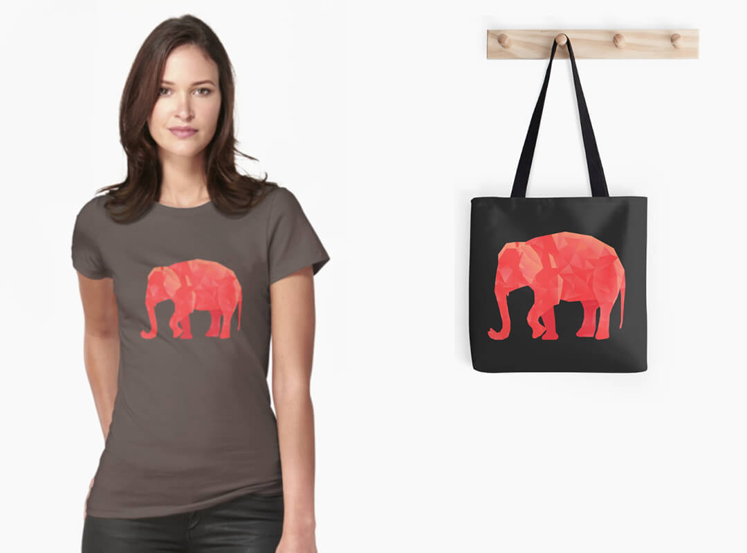 Red Elephant T-shirt and Tote Bag