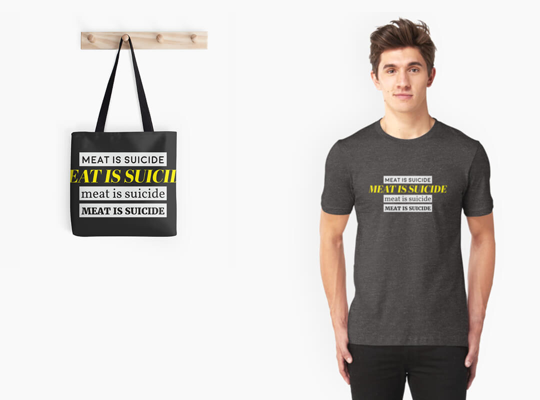 Meat is Suicide T-shirt Totebag