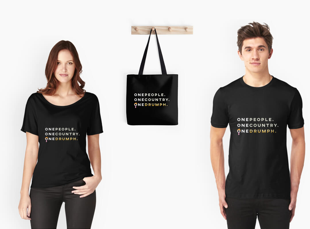 One People One Country One Drumph Gold Tote Bags T-shirts