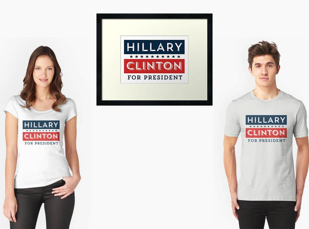 Retro Hillary Clinton for President Shirts Posters Tote Bags