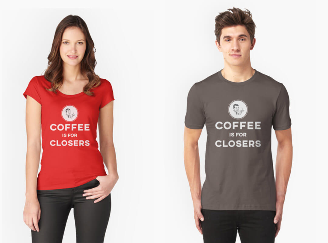 Coffee is for Closers t-shirts, stickers and tote bags.