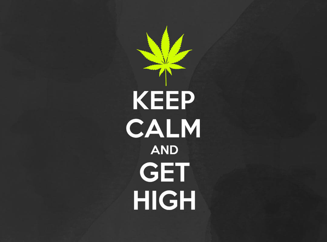 Keep Calm and Get High shirts stickers totebag