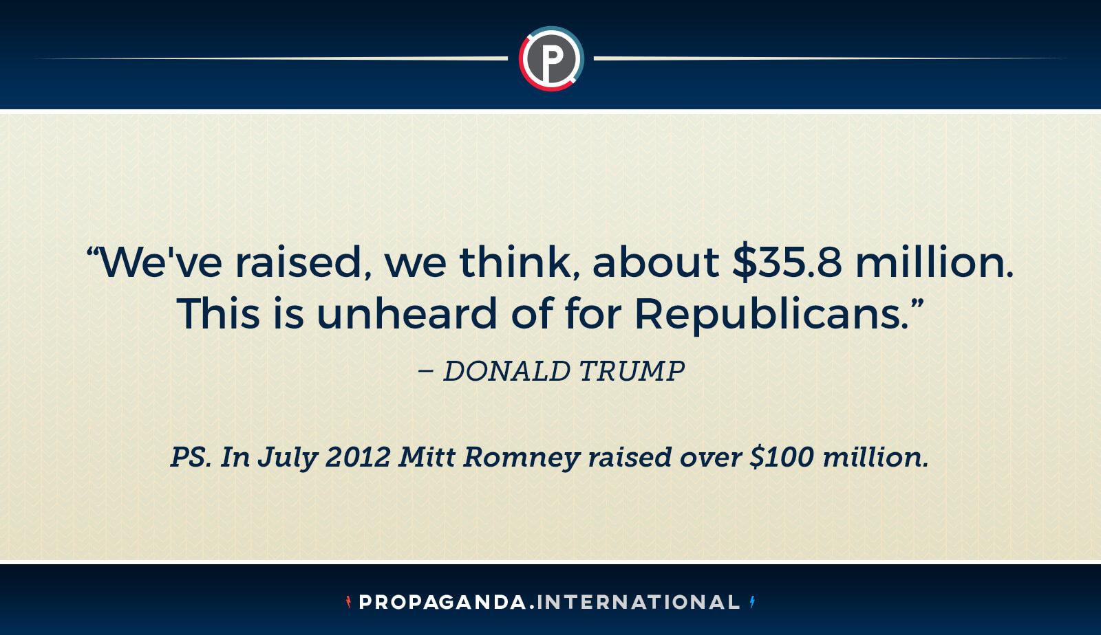 Trump Fund Raising Math $36 million is more than $100 million