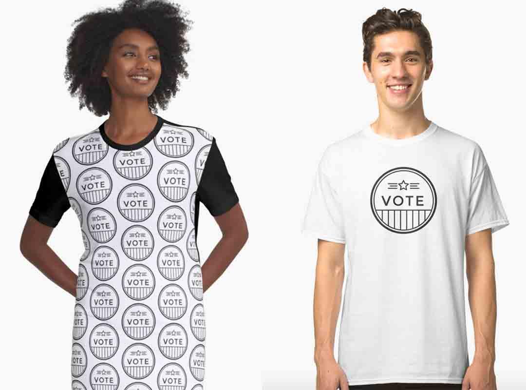 Black & White Vote t-shirt dress sticker