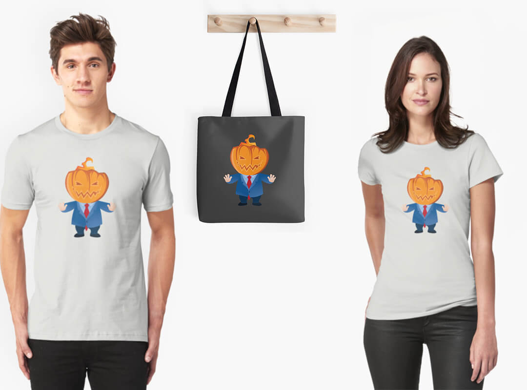 Trumpkin Pumpkin, AntiTrump T-shirts, stickers, tote bags