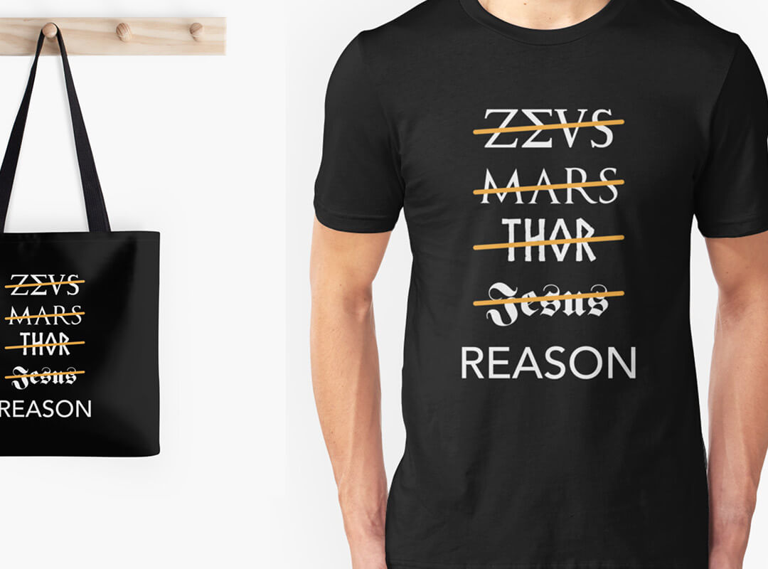 zeus mars thor jesus reason t-shirts stickers