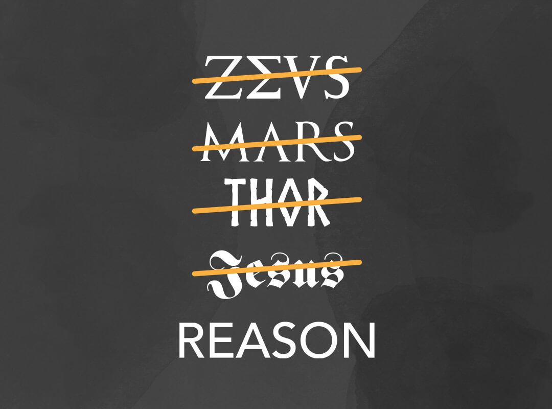 atheist zeus mars thor jesus reason t-shirts stickers mugs totes