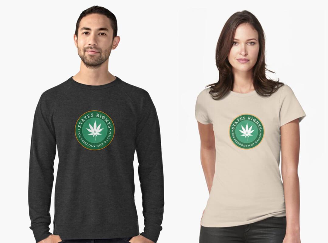 States Rights Marijuana Stickers Shirts