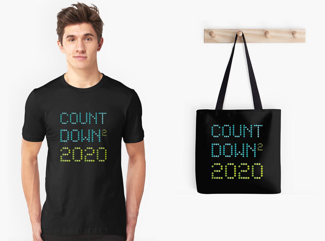 Countdown to 2020 t-shirts stickers