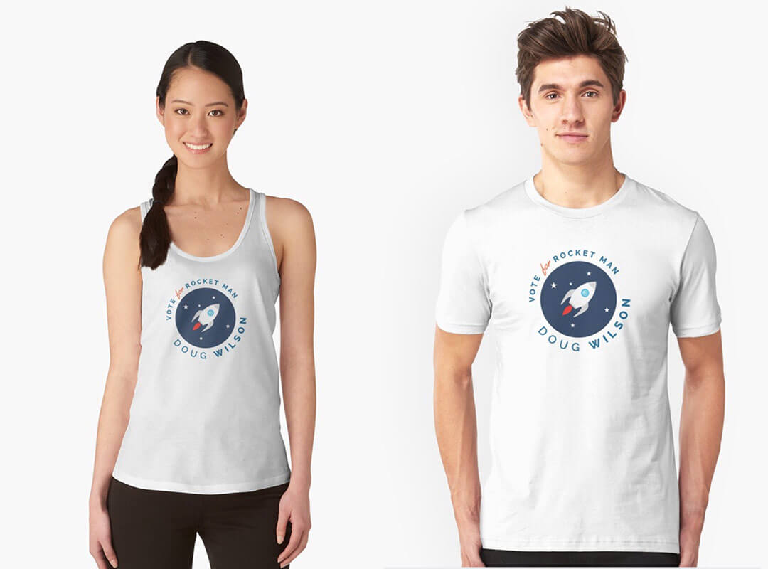 Vote for Rocket Man Doug Wilson T-shirt and Stickers
