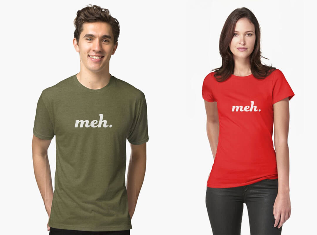 Meh shirts stickers